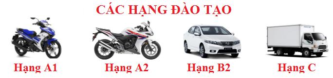 Các hạng đào tạo lái xe