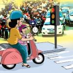 """Học luật giao thông: """"Bố ơi, Sao bố vượt đèn đỏ ? """""""