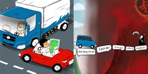 Không nhắn tin khi lái xe là bảo vệ chính bạn và mọi người